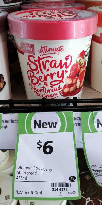 Coles 473mL Ultimate Ice Cream Strawberry Shortbread