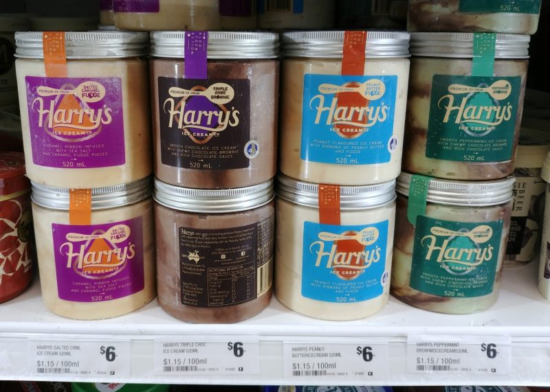 Harry's 520mL Ice Cream Salted Caramel Fudge, Triple Choc Brownie, Peanut Butter Fudge, Peppermint Brownie