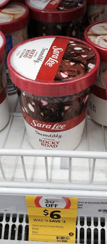 Sara Lee 1L Creamy Rocky Road Ice Cream