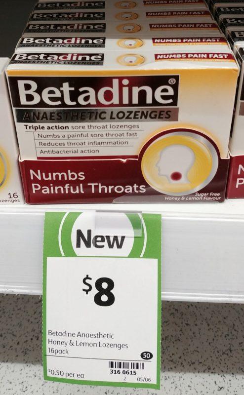 Betadine 16 Pack Anaesthetic Lozenges Sugar Free Honey & Lemon Flavour