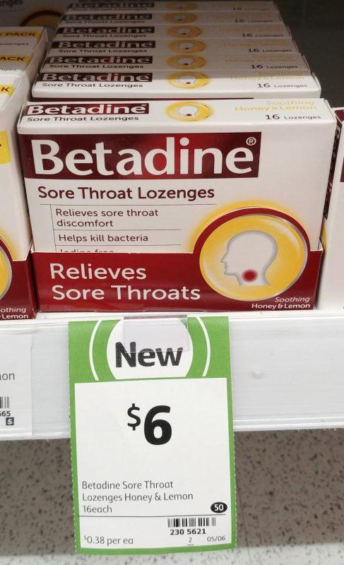 Betadine 16 Pack Sore Throat Lozenges Honey & Lemon
