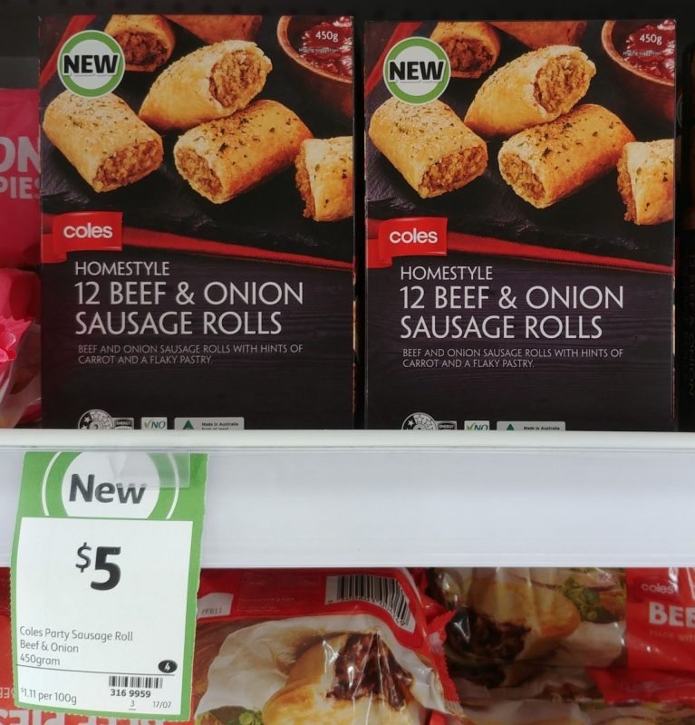Coles 450g Sausage Rolls Beef & Onion
