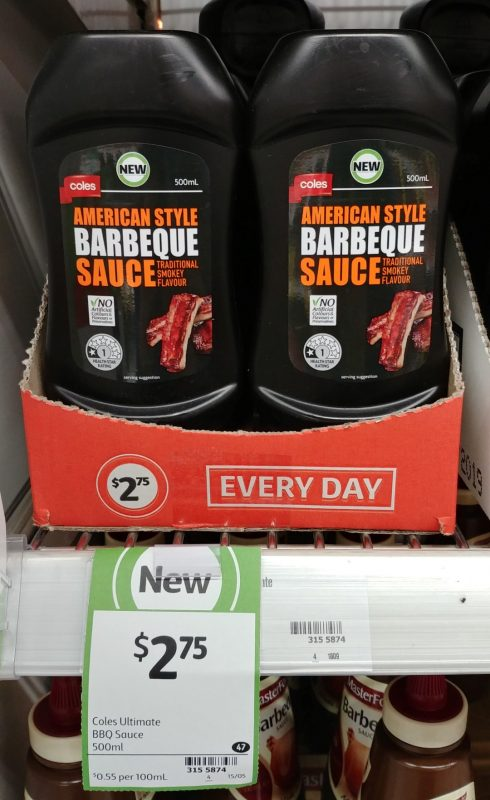 Coles 500mL American Style Barbeque Sauce Traditional Smokey Flavour