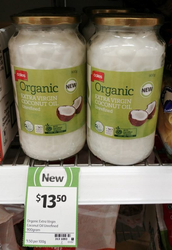 Coles 900g Organic Extra Virgin Coconut Oil Unrefined