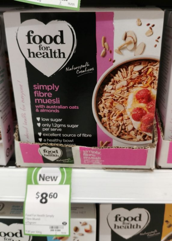 Food For Health 475g Muesli Australian Oats & Almonds