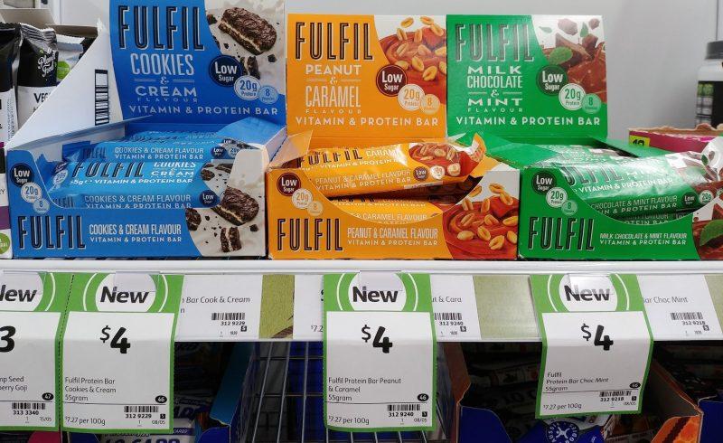 Fulfil Protein Bar 55g Vitamin & Protein Bar Cookies & Cream, Peanut & Caramel, Chocolate & Mint
