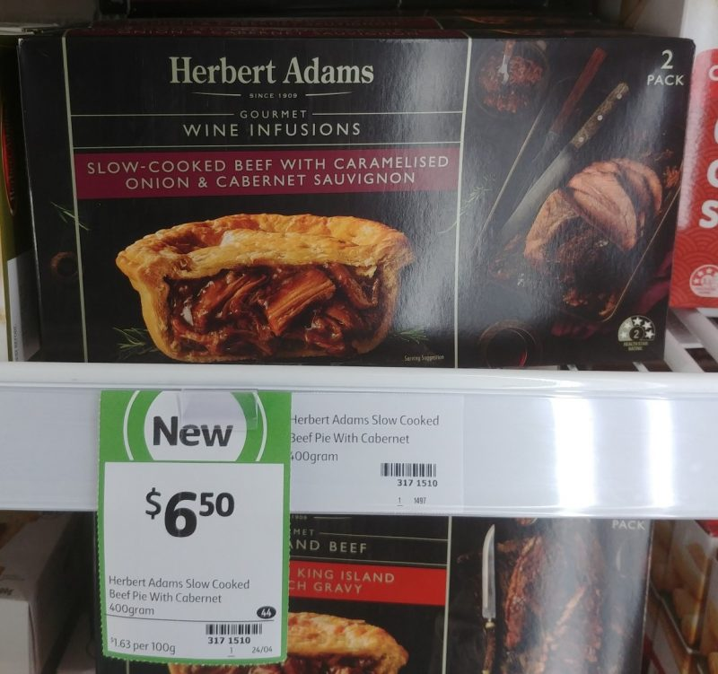 Herbert Adams 400g Pie Slow Cooked Beef With Caramelised Onion & Cabernet Sauvignon