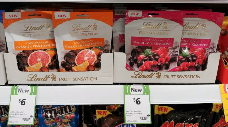 Lindt 150g Fruit Sensation Dark Chocolate Orange & Pink Grapefruit, Raspberry & Cranberry