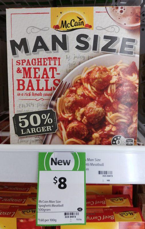 McCain 500g Man Size Spaghetti & Meatballs