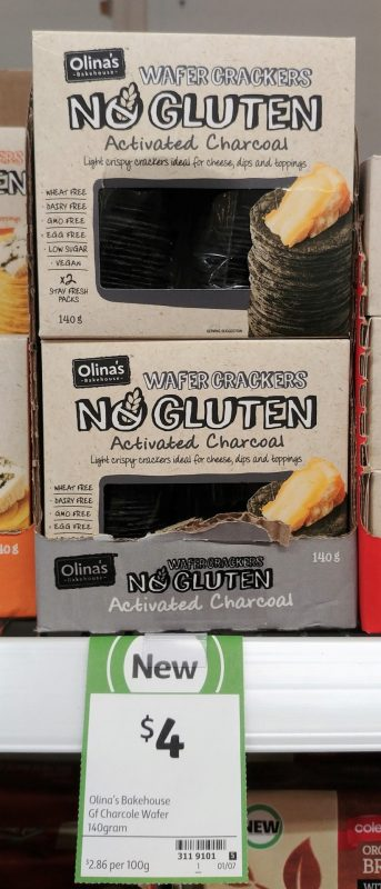 Olina's Bakehouse 100g No Gluten Activated Charcoal Wafer Crackers
