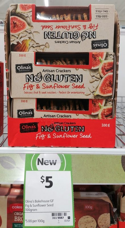 Olina's Bakehouse 100g No Gluten Fig & Sunflower Seed Artisan Crackers