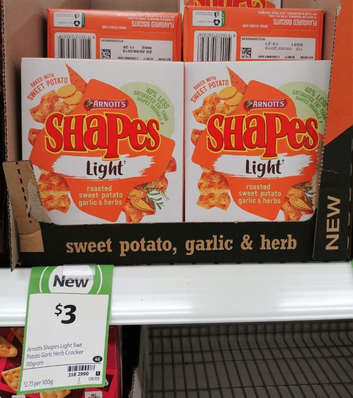 Arnott's 110g Shapes Light Roasted Sweet Potato Garlic & Herbs