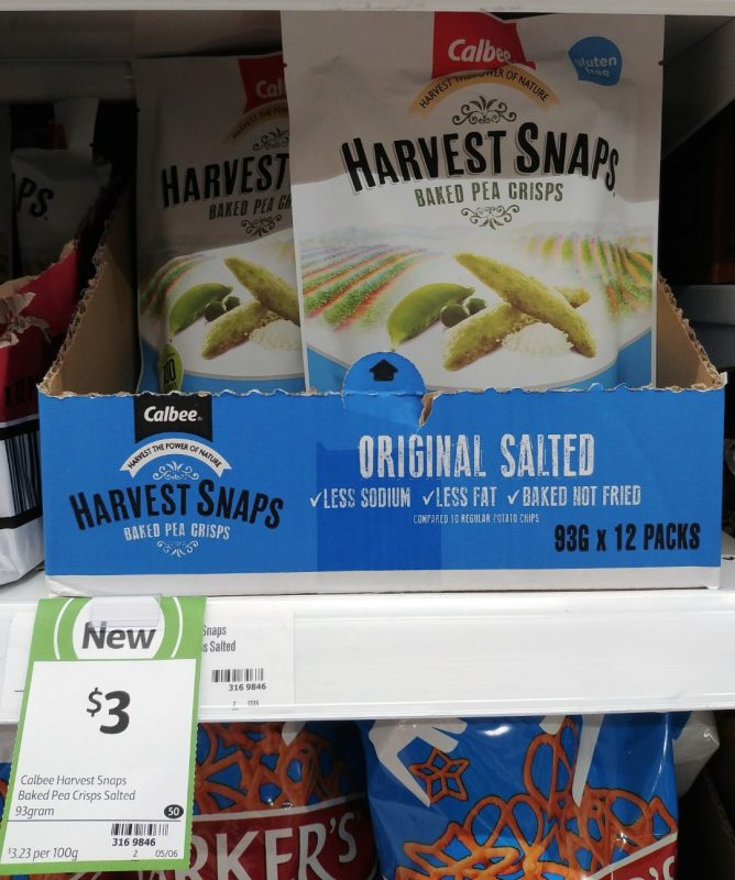 Calbee 93g Harvest Snaps Baked Pea Crisps Original Salted