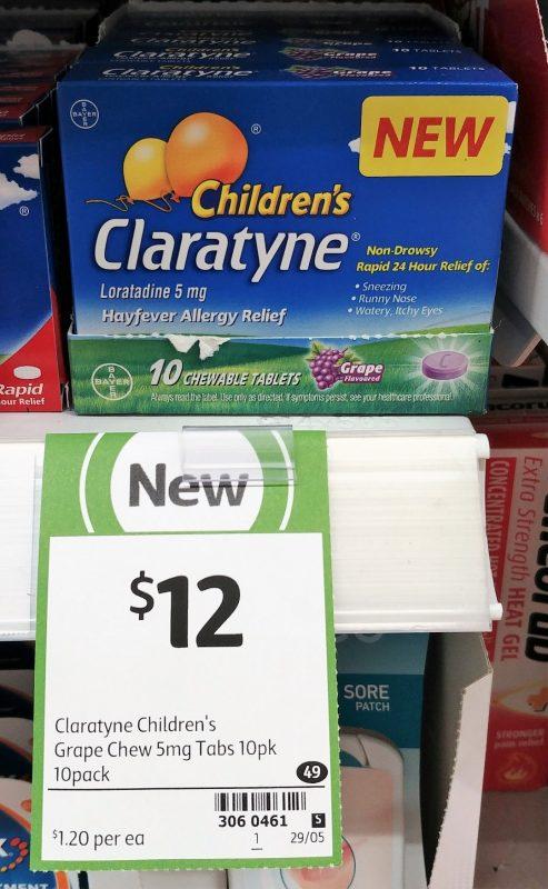 Claratyne 10 Pack Children's Hayfever Allergy Relief Grape Flavoured
