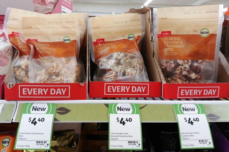 Coles 140g Bites Peanut & Buckwheat, Almond & Goji Berry, Almond Cashew Cranberry