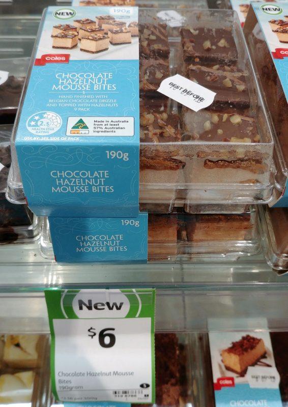 Coles 190g Chocolate Hazelnut Mousse Bites