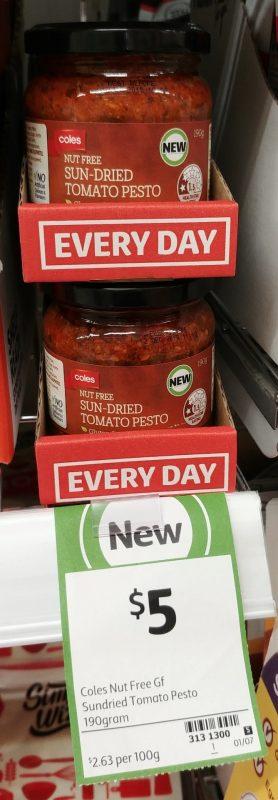 Coles 190g Nut Free Sun Dried Tomato Pesto