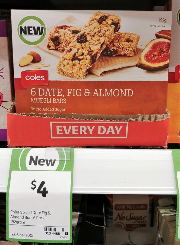 Coles 192g Muesli Bars Date, Fig & Almond