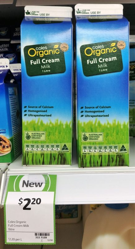 Coles 1L Organic Milk Full Cream