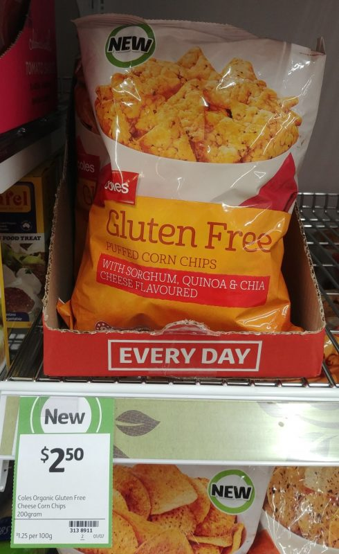 Coles 200g Gluten Free Puffed Corn Chips With Sorghum, Quinoa & Chia Cheese Flavoured