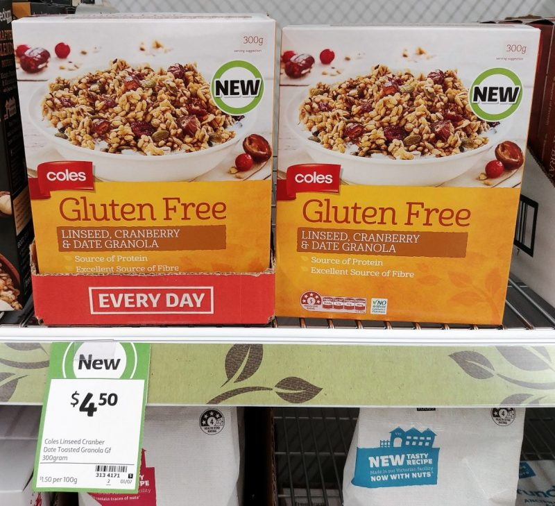 Coles 300g Gluten Free Granola Linseed, Cranberry & Date