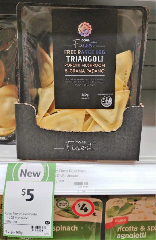 Coles 350g Finest Triangoli Porcini Mushroom & Grana Padano