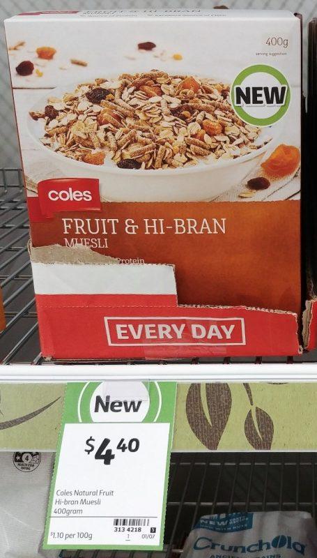 Coles 400g Muesli Fruit & Hi Bran