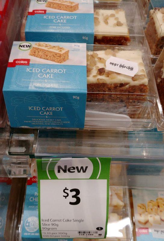 Coles 90g Iced Carrot Cake Single Slice