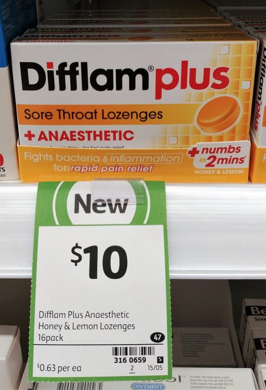 Difflam Plus 16 Pack Sore Throat Lozenges + Anaesthetic Honey & Lemon