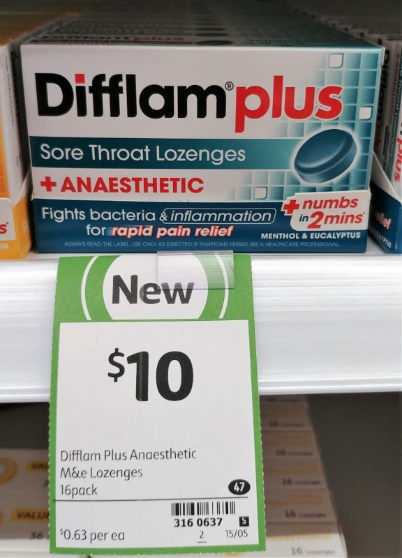 Difflam Plus 16 Pack Sore Throat Lozenges + Anaesthetic Menthol & Eucalyptus