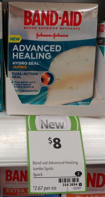 Johnson & Johnson 3 Pack Band Aid Advanced Healing Hydro Seal Jumbo