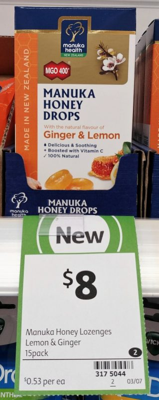 Manuka Health 15 Pack Manuka Honey Drops Ginger & Lemon