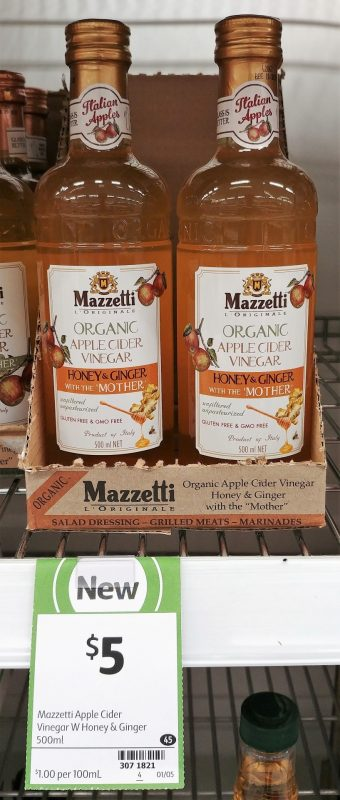 Mazzetti 500mL Organic Apple Cider Vinegar Honey & Ginger
