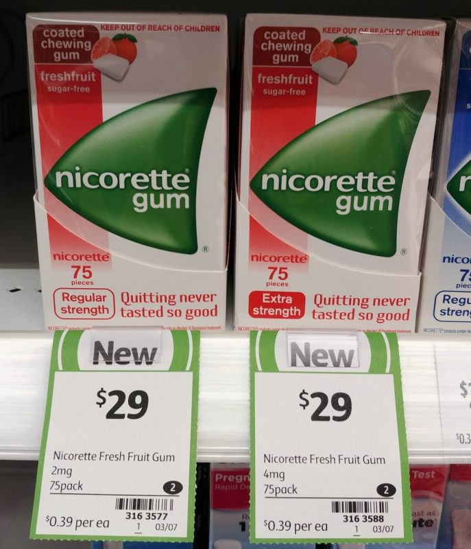 Nicorette 75 Pack Gum Fresh Fruit Sugar Free 2mg Regular Strength, 4mg Extra Strength