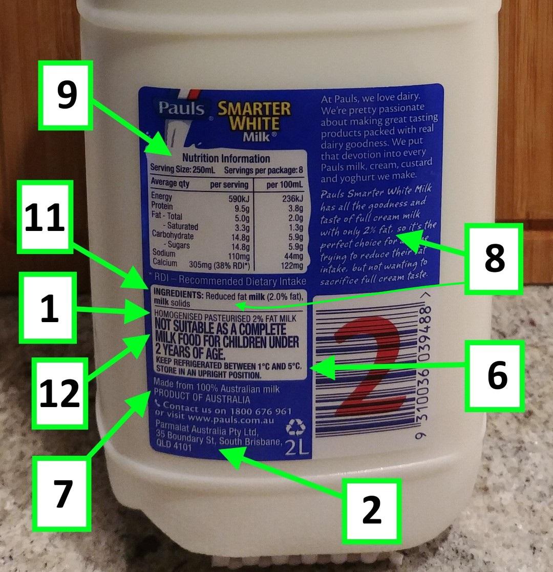 label review guide australia – food category milk – pauls 2l milk
