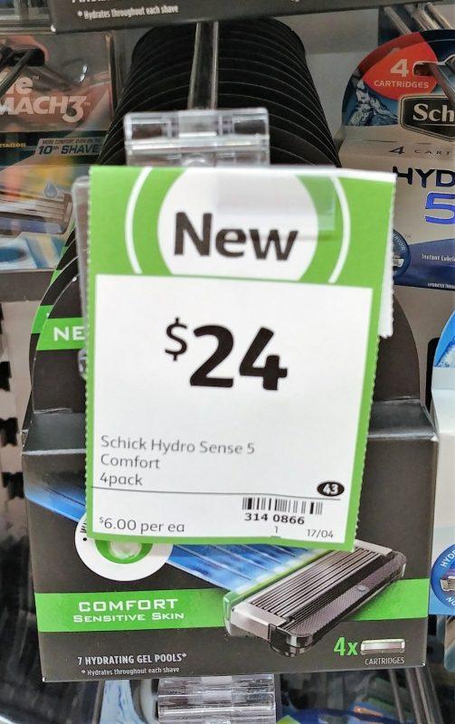 Schick 4 Pack Hydro Sence 5 Comfort