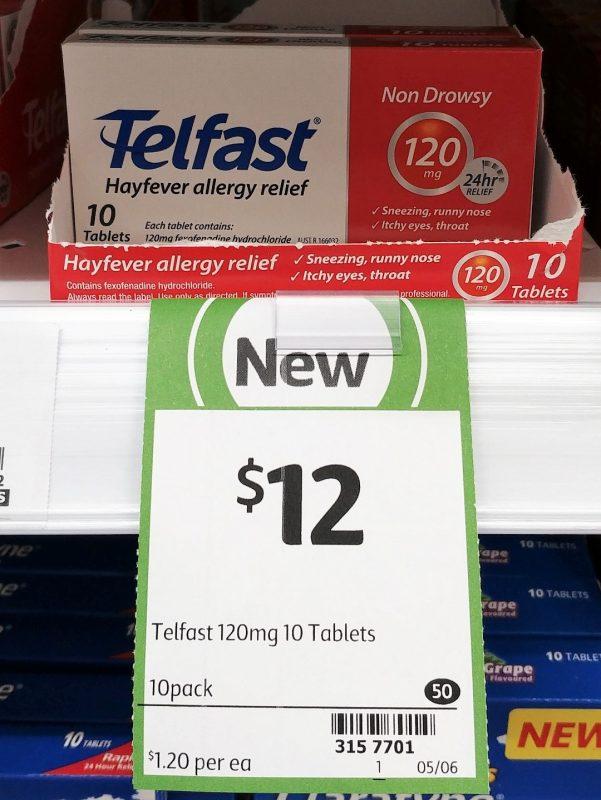 Telfast 10 Pack Hayfever Allergy Relief 120mg