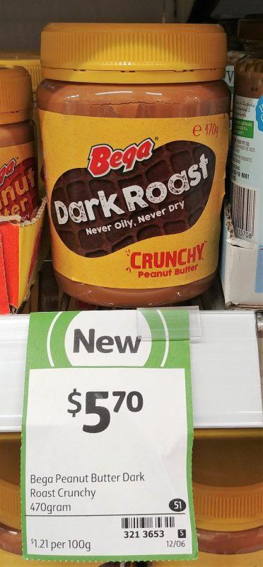 Bega 470g Peanut Butter Crunchy Dark Roast