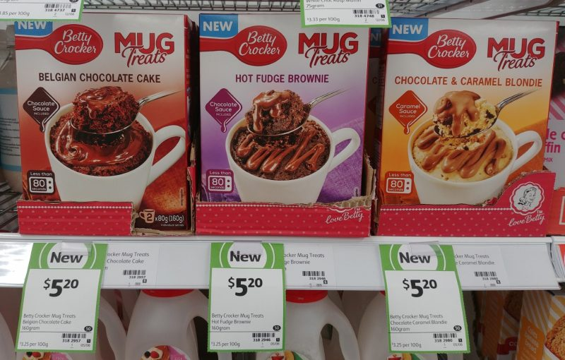 Betty Crocker 160g Mug Treats Belgian Chocolate Cake, Hot Fudge Brownie, Chocolate & Caramel Blondie (Large)