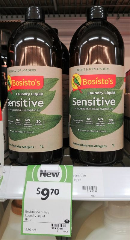 Bosisto's 1L Laundry Liquid Sensitive With Antibacterial Eucalyptus Oil