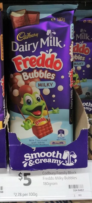 Cadbury 180g Milk Chocolate Freddo Bubbles Milky