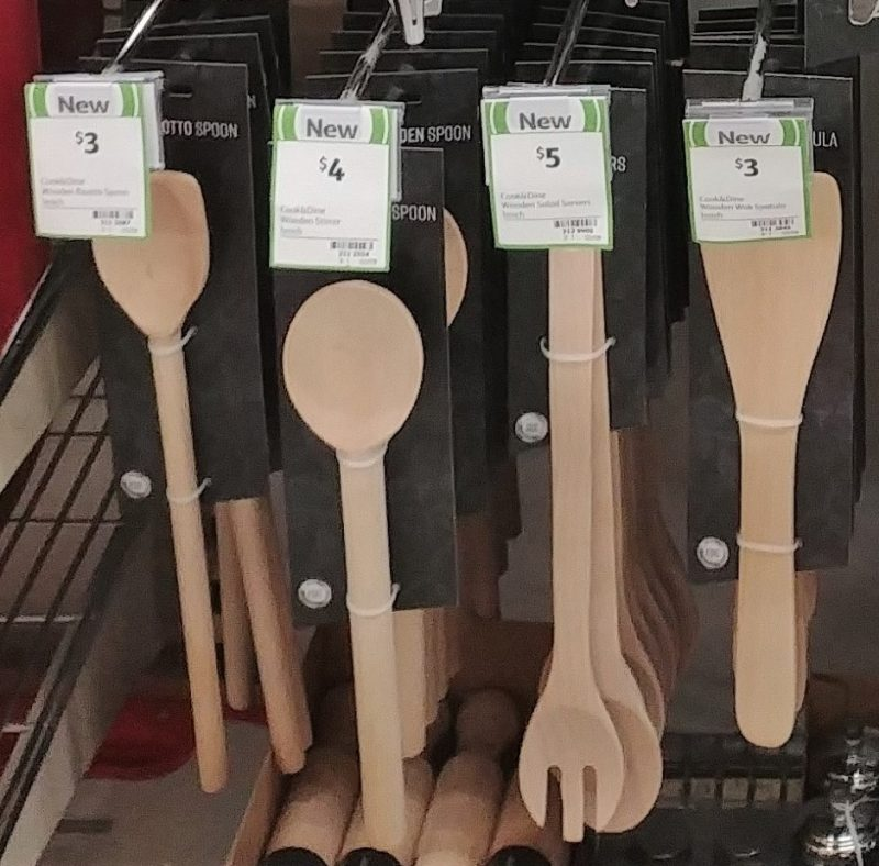 Coles 1 Pack Cook & Dine Wood Spoon, Salad Servers, Spatula