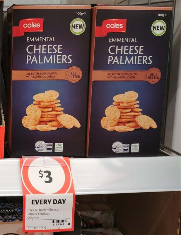 Coles 100g Cheese Palmiers Emmental