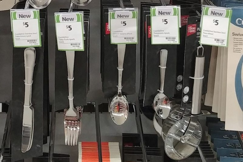 Coles 4 Pack Cook & Dine Table Knives, Forks, Dessert Spoons, Teaspoons, 1 Pack Pizza Wheel Knife