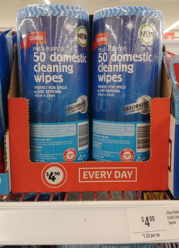 Coles 50 Pack Multi Purpose Cleaning Wipes