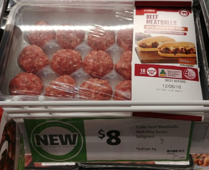 Coles 540g Beef Meatballs With American BBQ Sauce