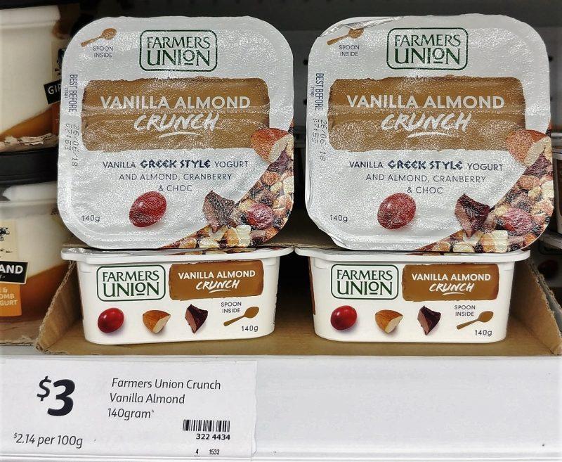 Farmers Union 140g Greek Style Yogurt Vanilla Almond Crunch