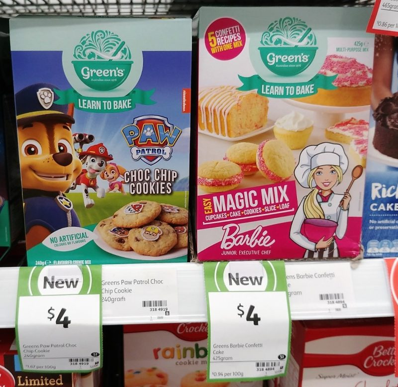 Green's 240g Paw Patrol Choc Chip Cookies, 425g Barbie Magic Mix