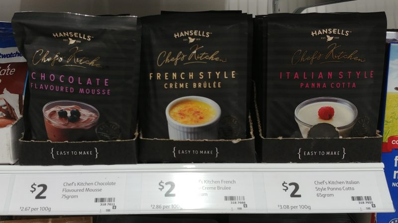 Hansells 75g Chefs Kitchen Chocolate Flavoured Mousse, French Style Creme Brulee, Italian Style Panna Cotta