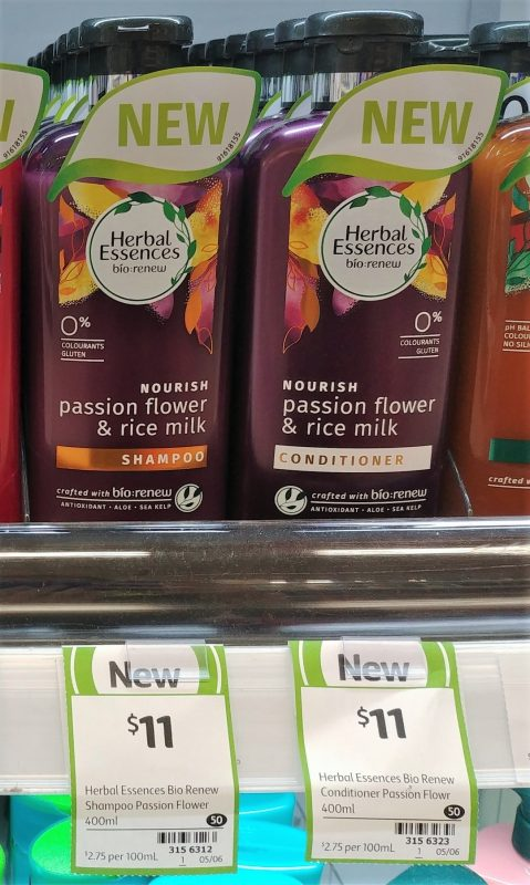 Herbal Essences 400mL Nourish Passion Flower & Rice Milk Shampoo, Conditioner